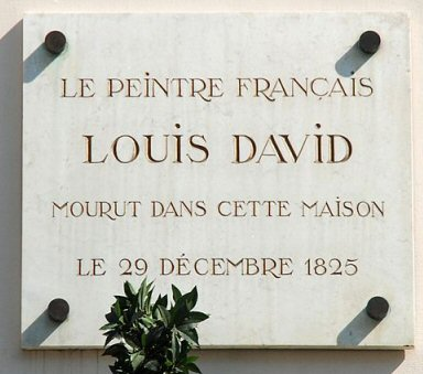 Plaque commémorative Louis David - Bruxelles Pentagone