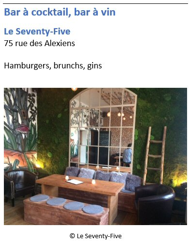 Bar � cocktail Le Seventy-Five - 75 rue des Alexiens - Pentagone