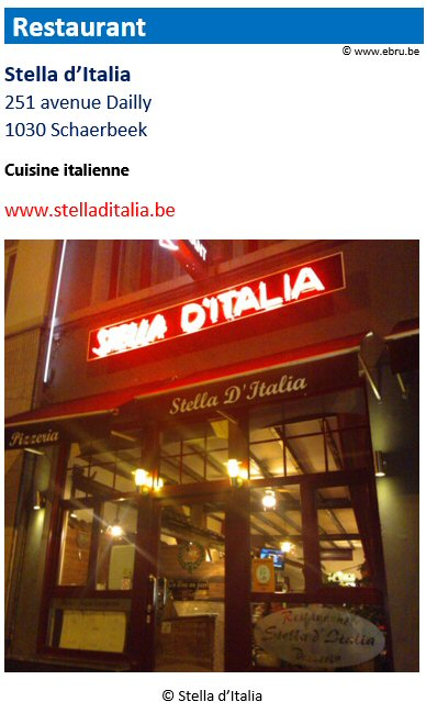 Restaurant Stella d'Italia - 251 avenue Dailly - 1030 Schaerbeek