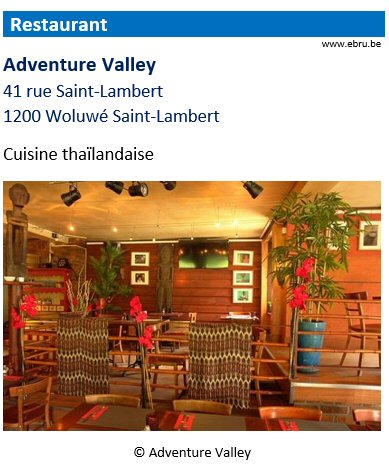 Restaurant Adventure Valley - 41 rue Saint-Lambert - 1200 Woluwé-Saint-Lambert